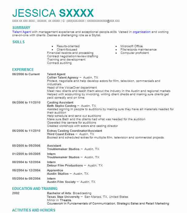 Talent Agent Resume Sample Agent Resumes LiveCareer