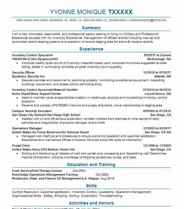 Inventory Control Specialist Resume Sample LiveCareer