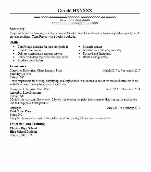 Laundry Worker Resume Sample Worker Resumes LiveCareer