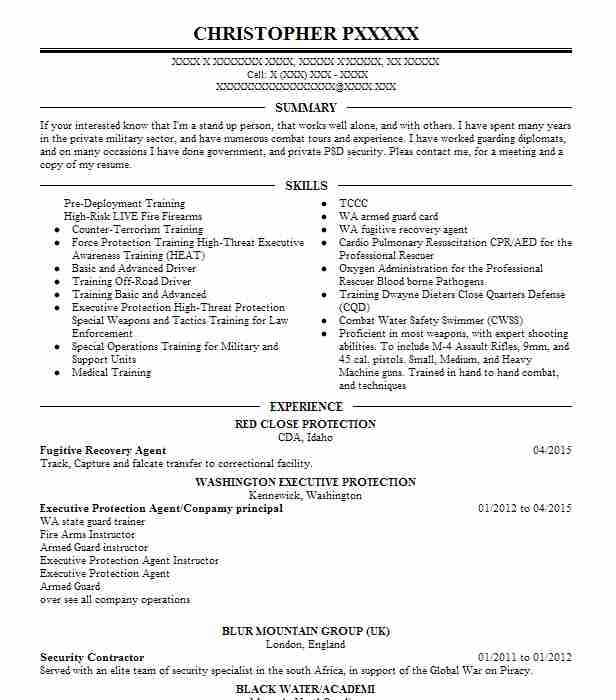 47 Protective Services Resume Examples in Idaho LiveCareer - Executive Protection Resume