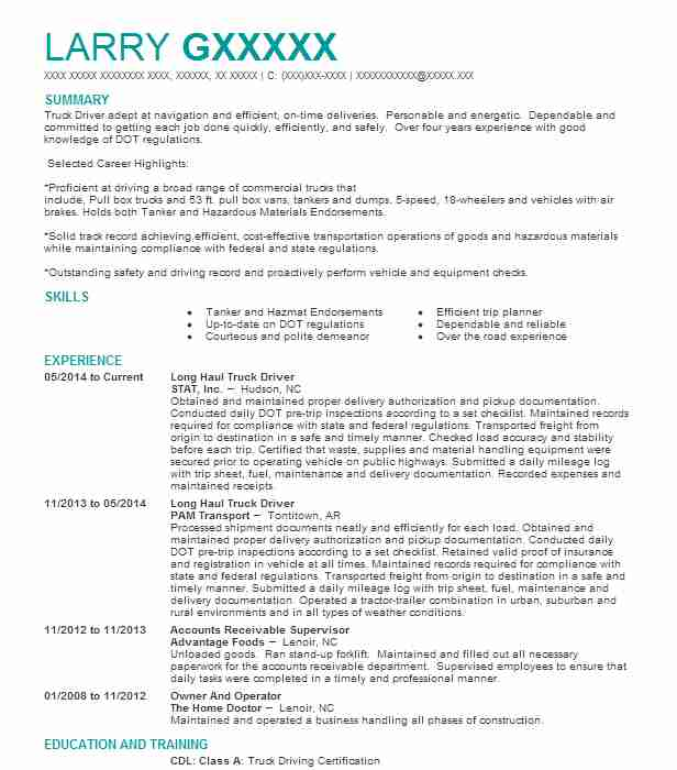 Long Haul Truck Driver Resume Sample Driver Resumes LiveCareer