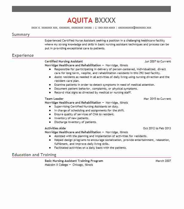 Certified Nursing Assistant Resume Objectives Resume Sample LiveCareer - Cna Resume Objectives