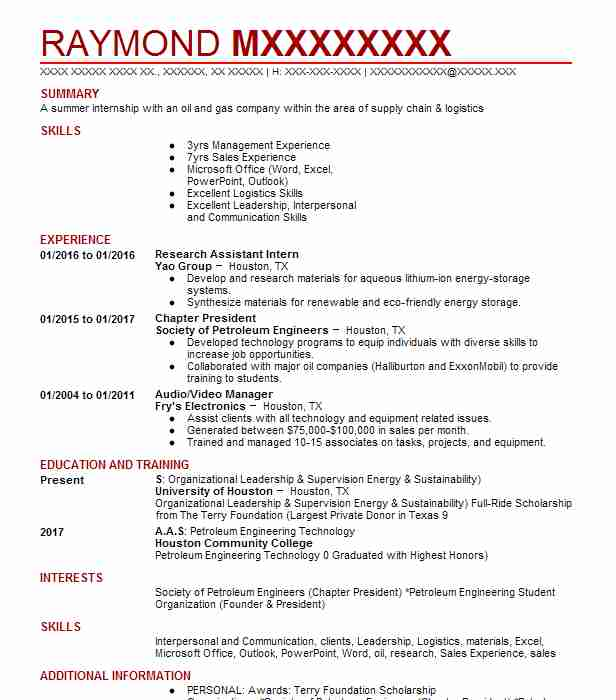 Petroleum Geologist Resume Sample Engineering Resumes LiveCareer