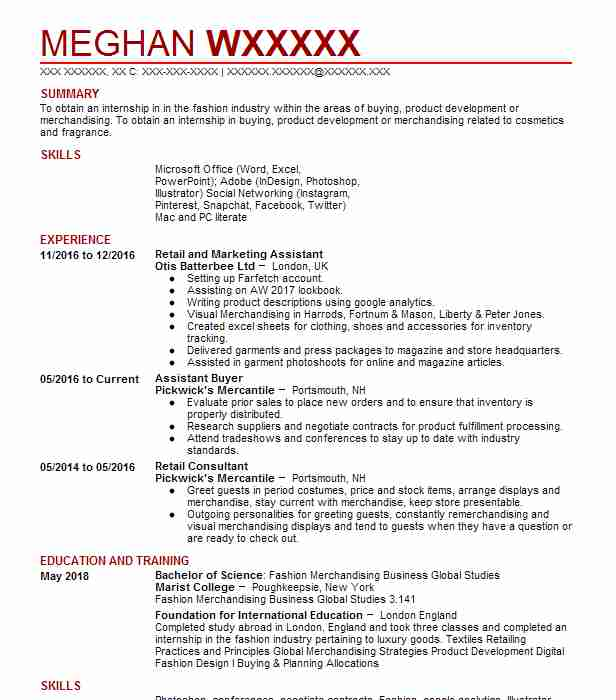 56 Fashion (Art, Fashion And Design) Resume Examples in New