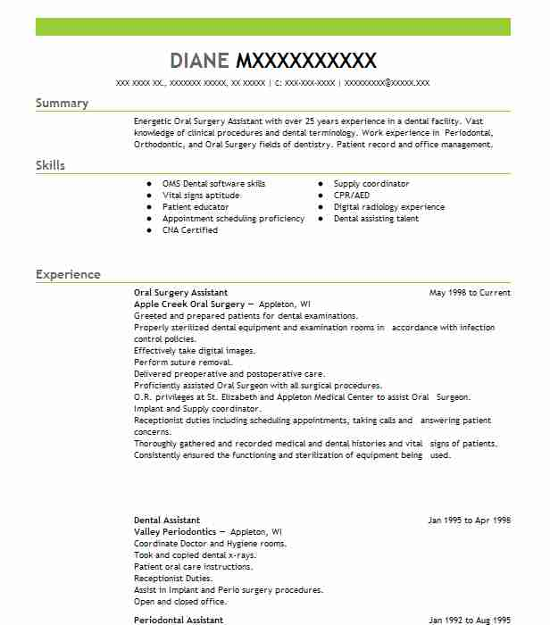 Oral Surgery Assistant Resume Sample Assistant Resumes LiveCareer