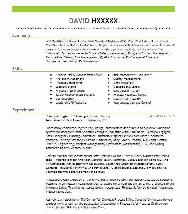 Process / Equipment Engineer Resume Example (CH2M HILL) - Middletown