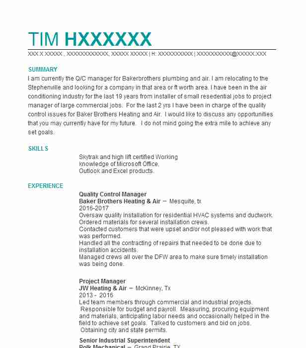 Quality Control Manager Resume Sample LiveCareer