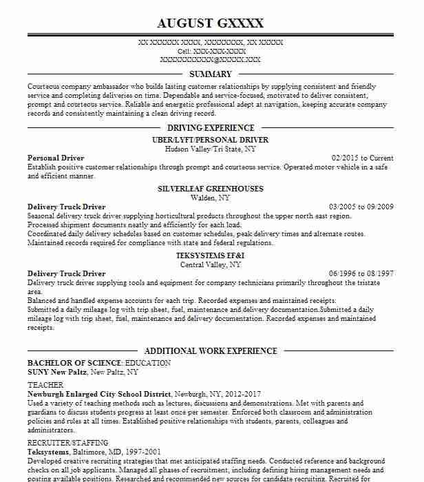 Personal Driver Resume Sample Driver Resumes LiveCareer