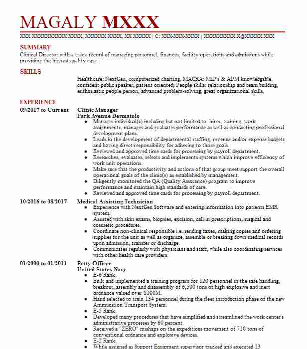 Clinic Manager Resume Sample Resumes Misc LiveCareer