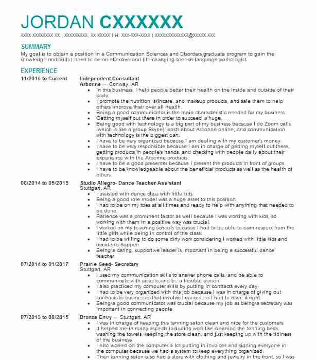 172 Speech Pathology And Audiology Resume Examples in Arkansas
