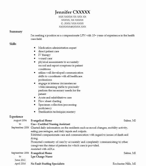 Lpn Resume Objectives Resume Sample Resume Objectives LiveCareer