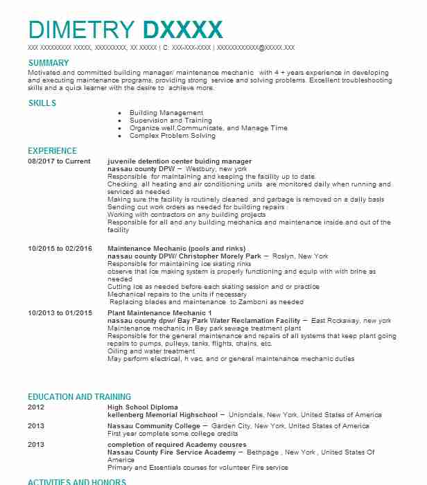 1133 Maintenance Managers Resume Examples in New York LiveCareer - maintenance manager resume sample