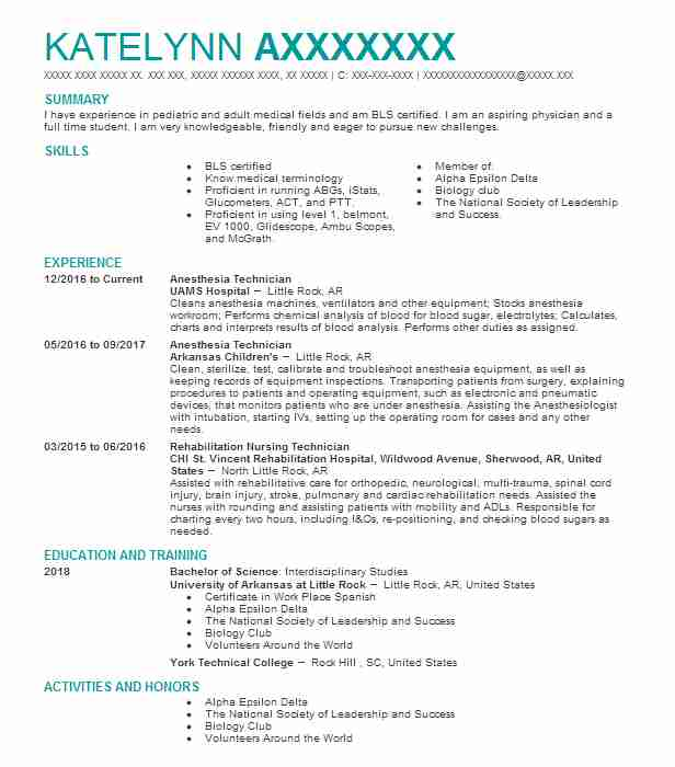 Anesthesia Technician Resume Sample Resumes Misc LiveCareer