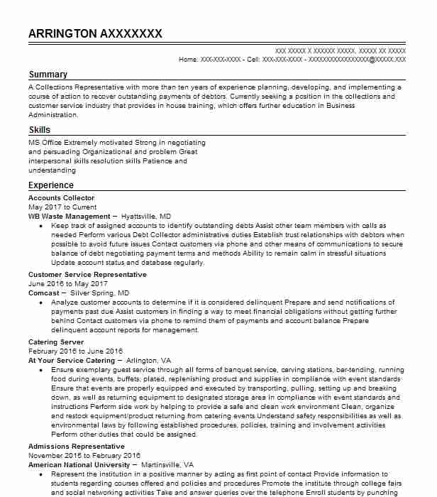 Refuse Collector Resume Sample Collector Resumes LiveCareer - service industry resume