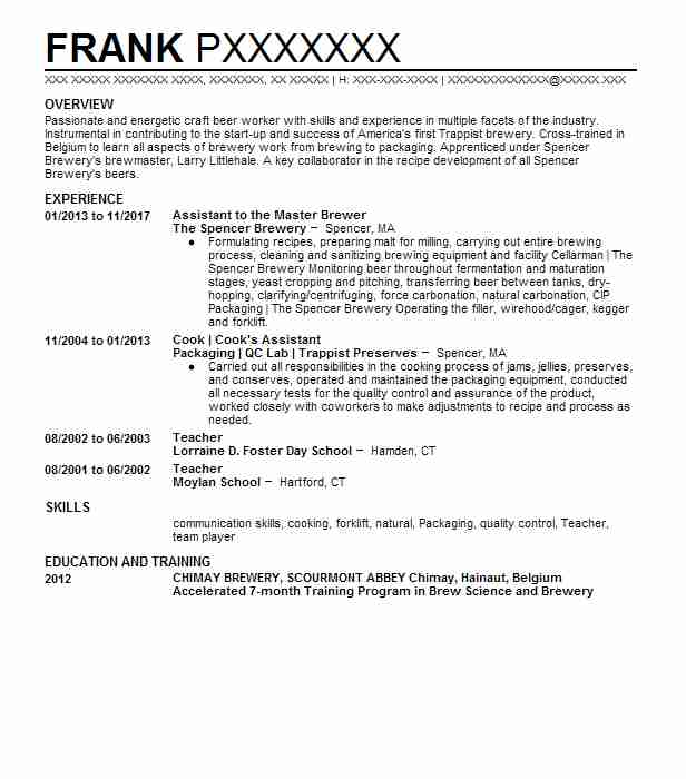 example brewer resume