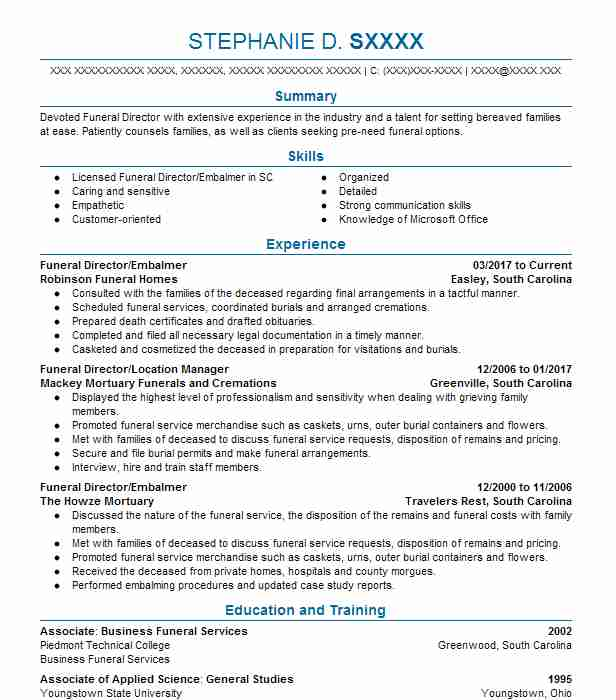 14 Funeral Directors Resume Examples in South Carolina LiveCareer - funeral director resume