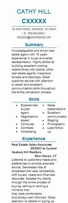 Real Estate Sales Associate Resume Sample LiveCareer