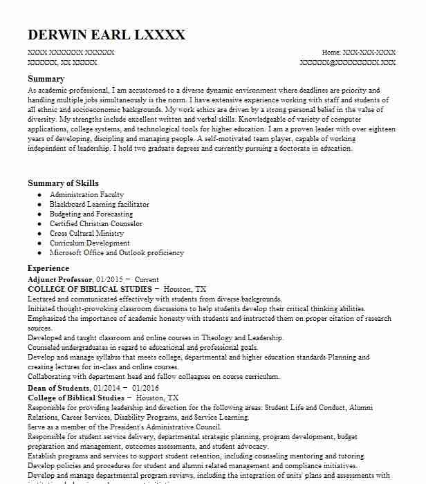 Best Professor Resume Example LiveCareer