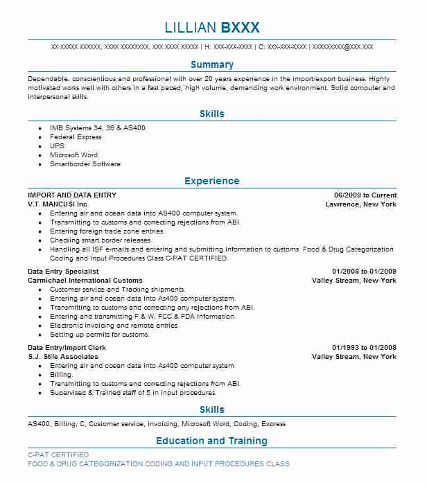 927 Logistics Resume Examples in New York LiveCareer - Import Export Clerk Sample Resume