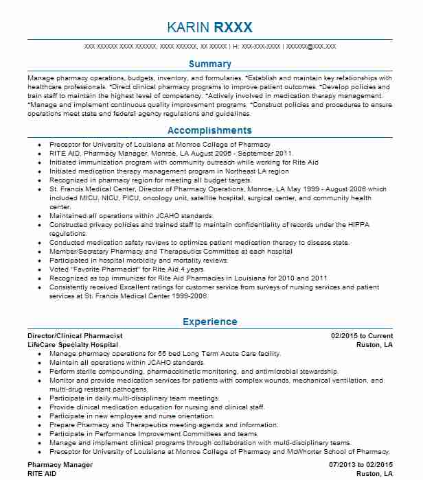 19036 Pharmacists Resume Examples Pharmacy Resumes LiveCareer