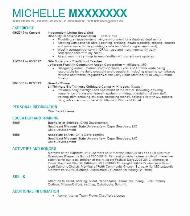 Independent Living Specialist Resume Example (Disability Resource