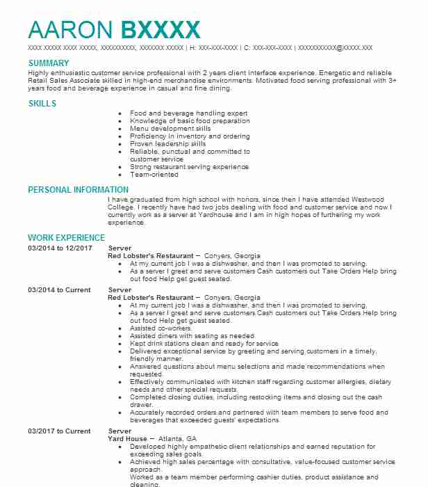 Best Server Resume Example LiveCareer