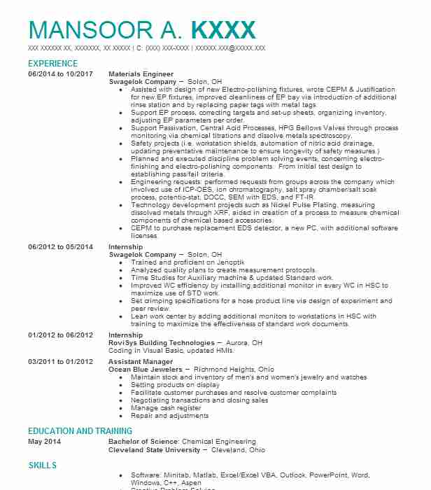 Principal Engineer / Manager Process Safety Resume Example (American
