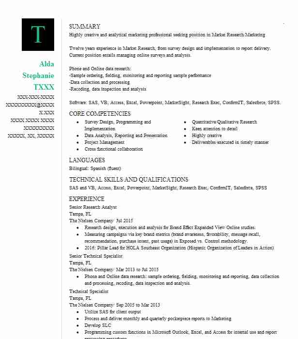 4607 Market Research Resume Examples Marketing, Advertising And PR