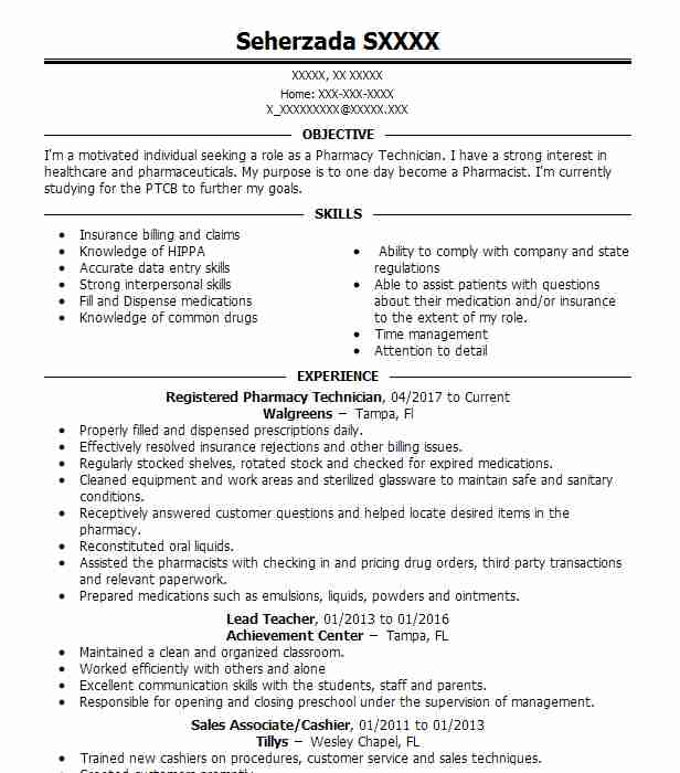 54878 Pharmacy Technicians Resume Examples Pharmacy Resumes - pharmacy technician resume