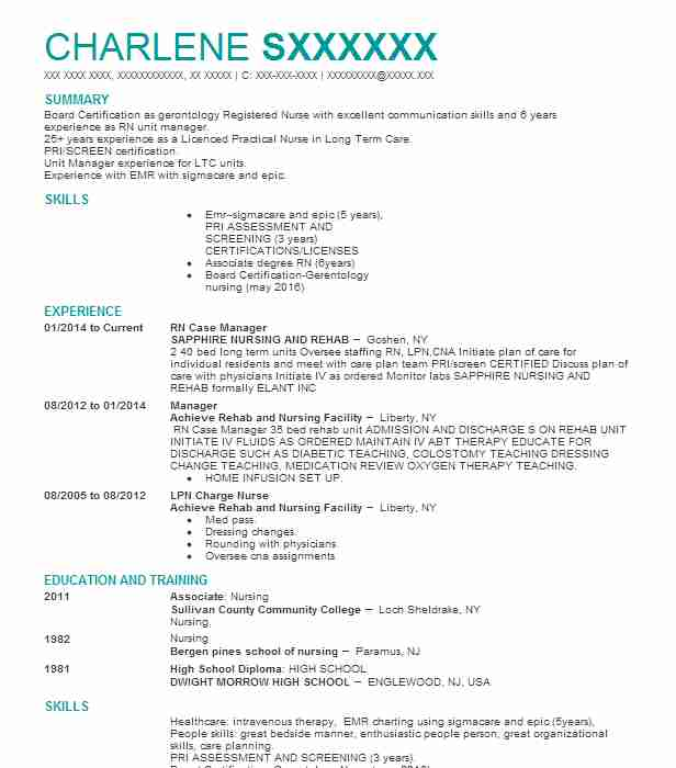 8427 Case Managers Resume Examples Nursing Resumes LiveCareer