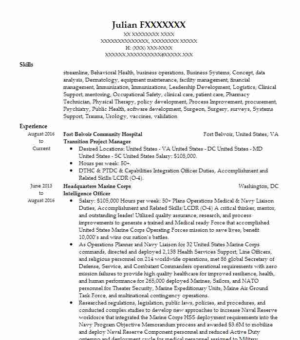 Transition Project Manager Resume Sample LiveCareer