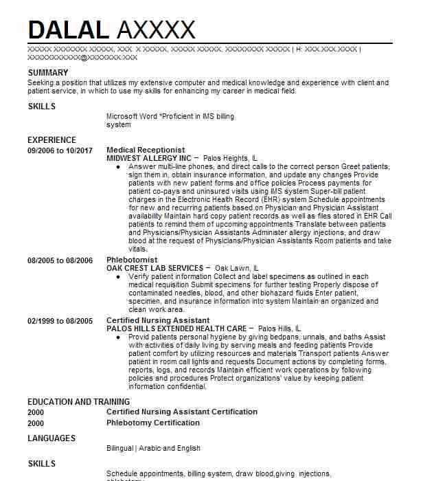 Phlebotomist Resume Sample Nursing Resumes LiveCareer - phlebotomy sample resume