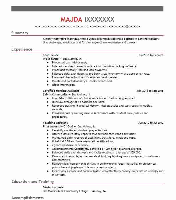 Bank Teller Resume With No Experience Duties And Skills Head Sample
