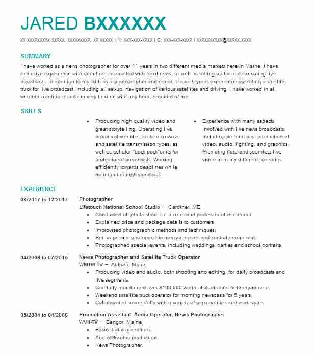 Videographer Resume Example (American Wedding Group) - Kissimmee