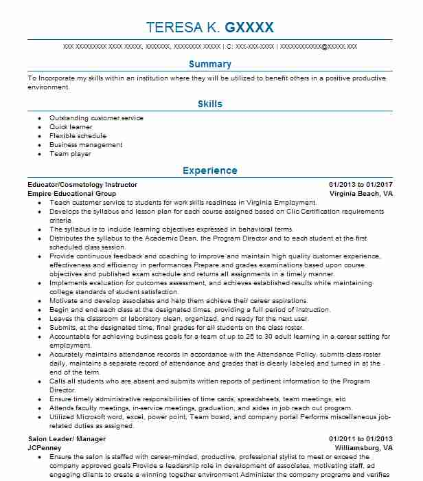 Beautiful Resume For Cosmetology Contemporary - Best Student Resume
