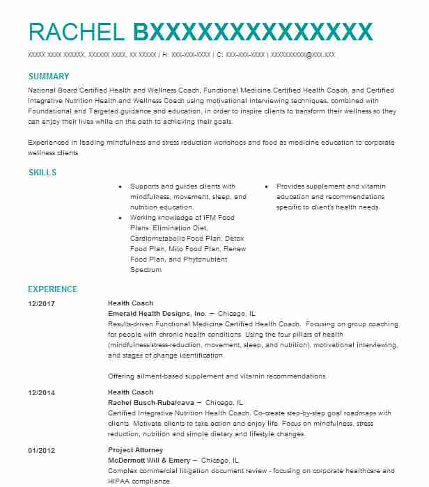 Health Coach Resume Sample Resumes Misc LiveCareer