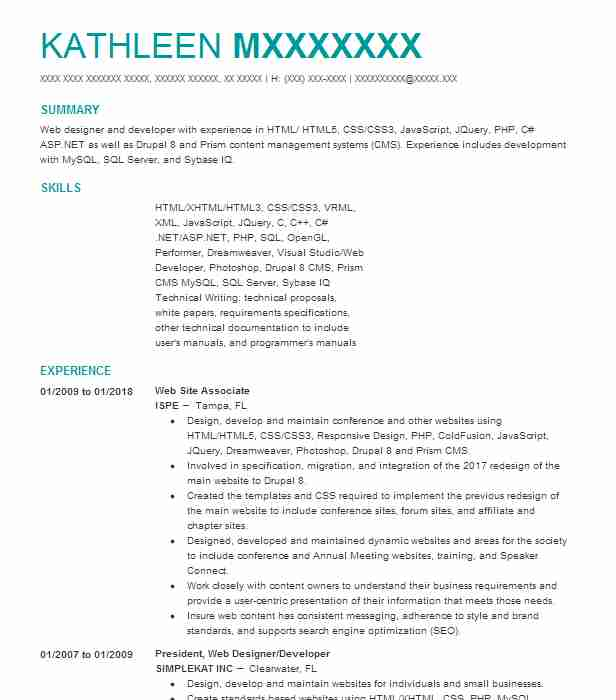 Web Developer Resume Example (HTML5, CSS, Javascript, Jquery - associate web designer resume