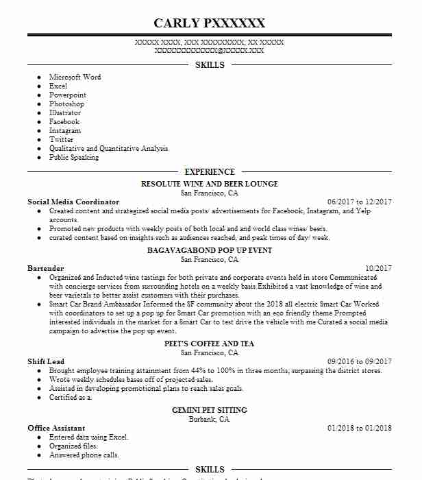 Bartender Resume Objectives Resume Sample LiveCareer - objective for bartending resume