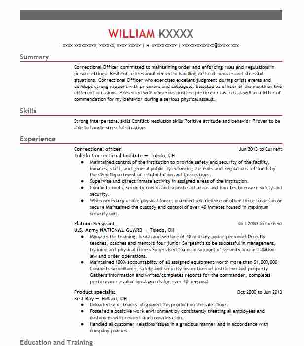 34460 Correctional Officers Resume Examples Law Enforcement And