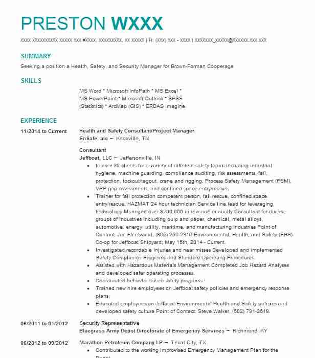 31 Occupational Health And Safety (Engineering) Resume Examples in - emergency management consultant sample resume