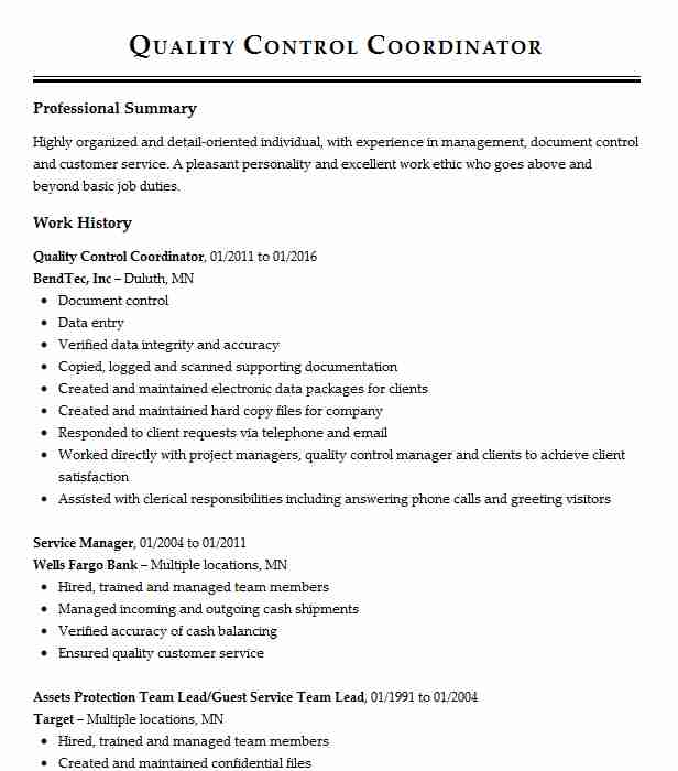 Quality Control Coordinator Resume Sample LiveCareer