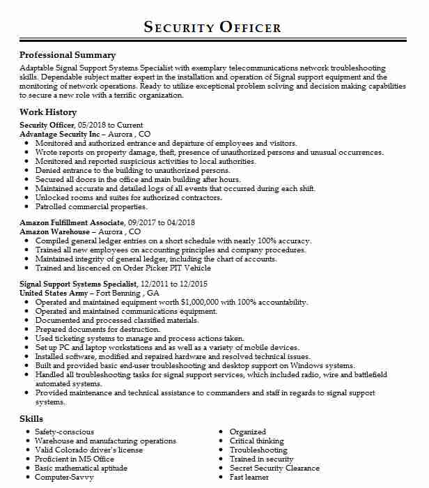 1 Enlisted (Business) Resume Examples in Colorado LiveCareer - signal support systems specialist sample resume