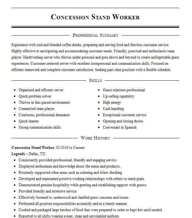 Concession Stand Worker Resume Sample Worker Resumes LiveCareer