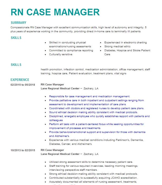 RN Case Manager Resume Example (Solaris Hospice) - Troup, Texas