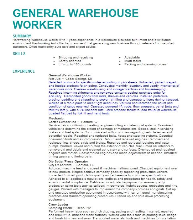 sample resumes for windows factory work