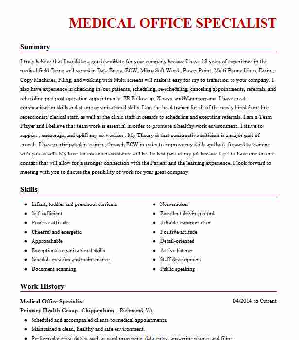 Medical Office Specialist Resume Sample LiveCareer