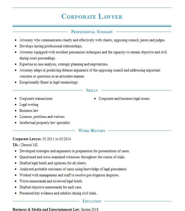 Corporate Lawyer Resume Sample Lawyer Resumes LiveCareer