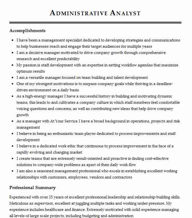 Administrative Analyst Resume Sample Analyst Resumes LiveCareer