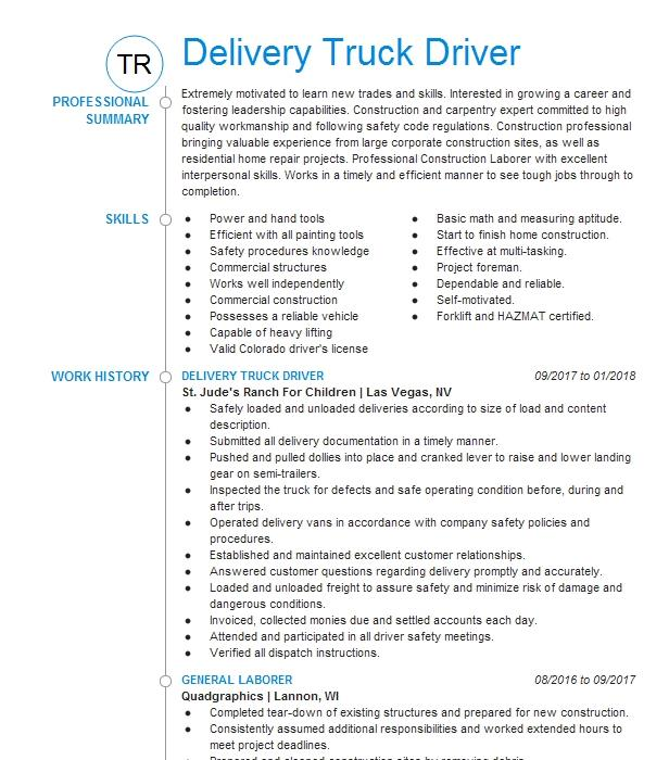 Delivery Truck Driver Resume Sample Driver Resumes LiveCareer