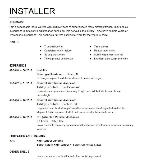 Eye-Grabbing Installer Resumes Samples LiveCareer